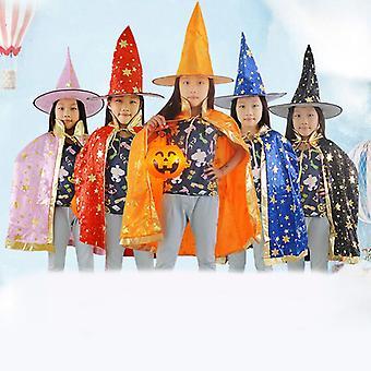ליל כל הקדושים Cos הסוואה ביצועים תלבושות ילדים להראות קוסם חמישה כוכבים גלימה קייפ כובע סט