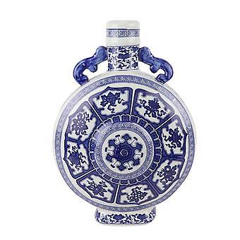 Vase chinois asiatique fin Bleu Blanc Porcelaine D22xH35cm