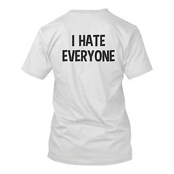 Я ненавижу всех Обратно Печати Мужская рубашка Графическая футболка Короткий рукав Ти Смешные рубашки
