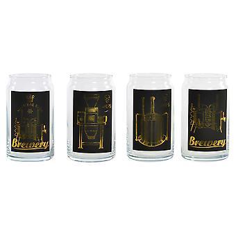 Beer Glass DKD Home Decor Borosilicate Glass (4 pcs) (7.5 x 7.5 x 13 cm)
