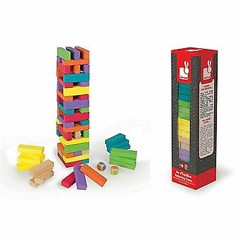 Wooden pegged puzzles equilibloc colour 62pc?60 Wooden pieces in 7 stunning colours 2 dice?+3Y