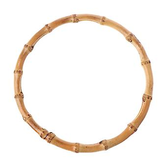 1 X Round Bamboo Bag Handle For Handcrafted Handbag Diy Bags Accessories Good Quality 15x15cm