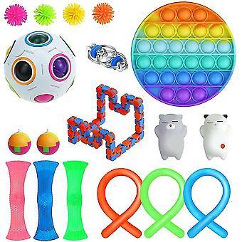 18st Extrudering Fidget Leksaker Set Push Pop Bubble Tpr Nudelsträngar Stress Relief Leksaker