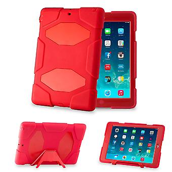 Defender Hard Shock Proof Triple Case Cover For Apple iPad Air - Red