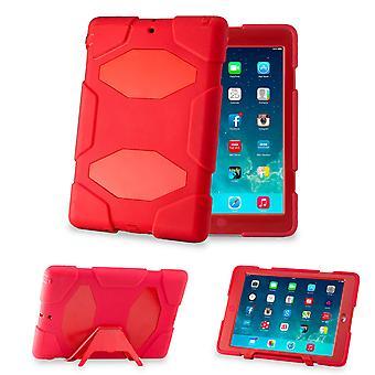 Obrońca twardy prądem dowód Triple wypadku pokrycie dla Apple iPad Air - czerwony