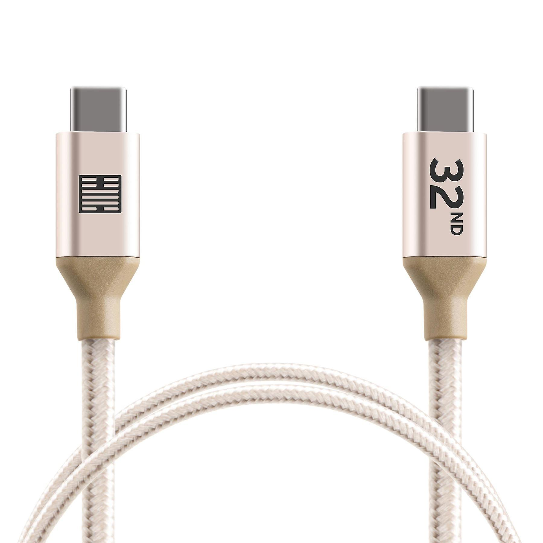 32nd Braided Nylon USB Type-C  to USB Type-C cable 1m - Gold