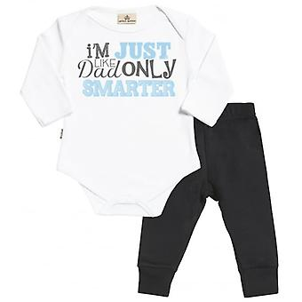 Spoilt Rotten Like Dad Only Smarter Babygrow & Jersey Trousers Outfit Set