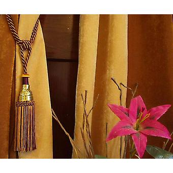 Pair- Fancy 2 Color  Curtain Tieback/Tiebacks/Tassel/Tassels w/ wooden disc