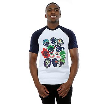 Suicide Squad Men's Band Of Skulls Filled Baseball T-Shirt