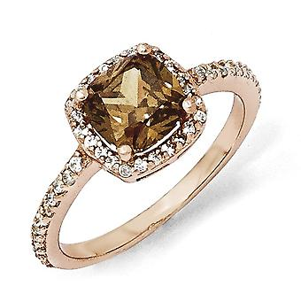 925 Sterling Silver Cushion Cut CZ Cubic Zirconia Simulated Diamond Cocoa Rose 14k Gold Plated Ring Jewelry Gifts for Wo