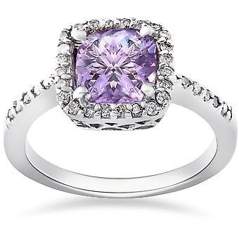2ct Amethyst & Diamond Halo Anniversary 14K White Gold Ring