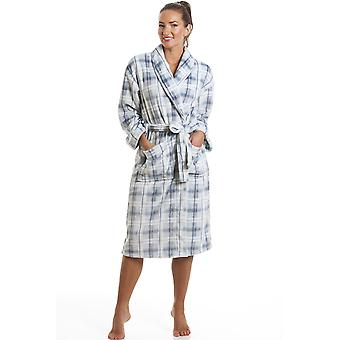 Camille Light Blue Checkered Supersoft Bathrobe