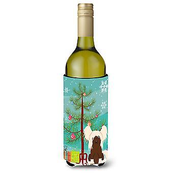 Merry Christmas Tree Chinese Crested Cream Wine Bottle Beverge Insulator Hugger