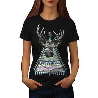 Triangle Deer Women BlackT-shirt   Wellcoda