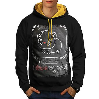 Guinea Pig Pet Animal Men Black (Gold Hood)Contrast Hoodie | Wellcoda