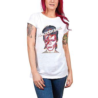 David Bowie T Shirt Aladdin Sane new Official Womens Skinny Fit White