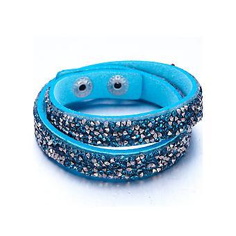 Armband geschmückt mit Türkis und Silber Kristalle aus Swarovski und Türkis Leder