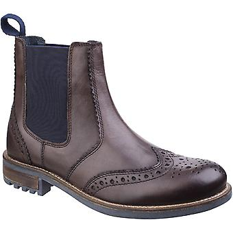 Cotswold Mens Cirencester Pull On Brogue Leather Chelsea Ankle Boots