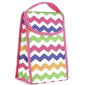 Quality 600D Polyester Personal Zig Zag Design Lunch Bag - Cool Bag With Tough Velctro Closure