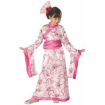 Traje asiático princesa Mulan Pink Kimono japonés Geisha libro semana chicas