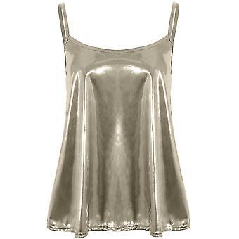 Ladies Thin Strap blossade metalliskt glänsande Stretch Baggy Cami Swing Mini Party överst