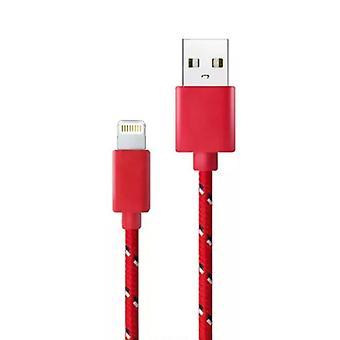 ting sertifisert® iPhone / iPad / iPod lyn USB ladekabel flettet Nylon lading datakabel 1 meter data rød