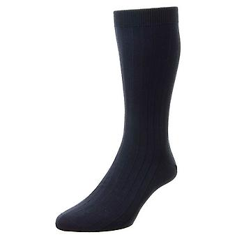 Pantherella Pembrey Sea Island Cotton Socks - Navy