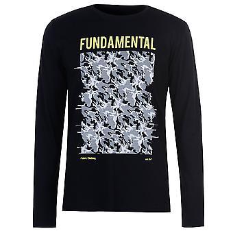 Fabric Mens Long Sleeve Camo T Shirt Top Crew Neck Cotton Regular Fit Print