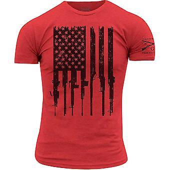 Grynt stil R.E.D. Rifle flagg Crewneck t-skjorte-rød