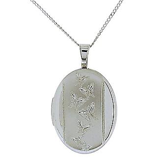 TOC Sterling Silver Butterfly Engraved Oval Locket Necklace 18