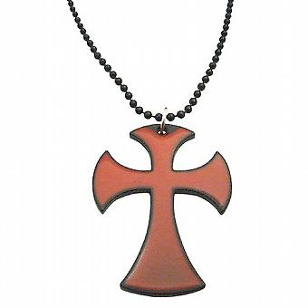 Hip Hop Cross Pendant Red Enamel w/ Black Chain Necklace 24 Inches