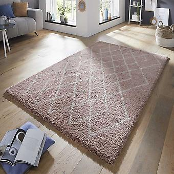 Design velour deep-pile carpet touch rose cream