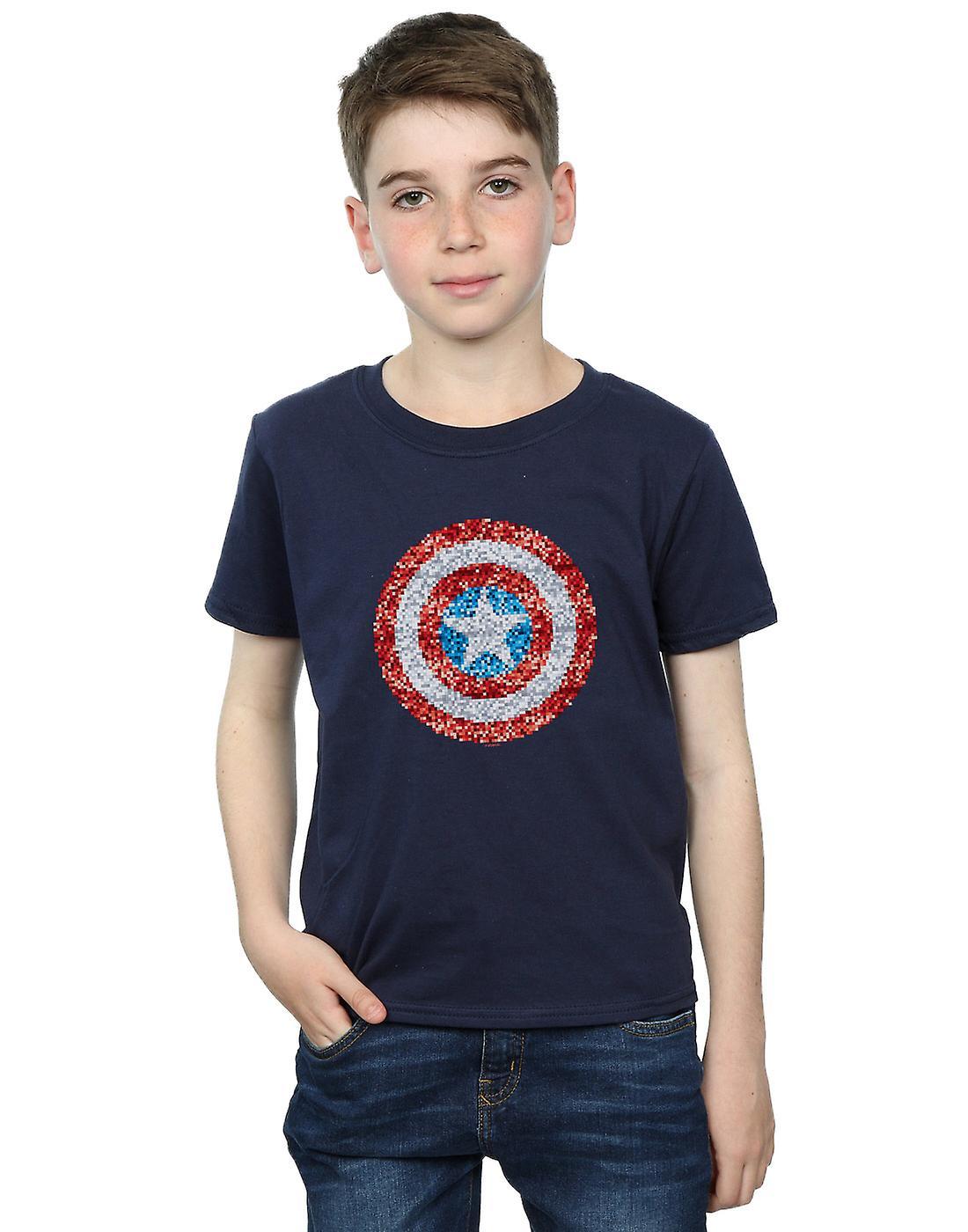 Marvel Boys Captain America Pixelated Shield T-Shirt