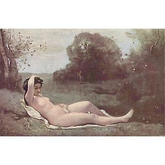 Nymph Reclined, Corot Camille, 60x40cm