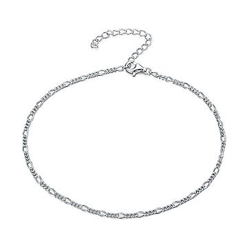925 Sterling Silver Figaro Link Curb Chain Anklet