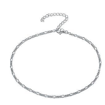 925 Sterling Zilver Figaro Link Curb Chain enkelbandje