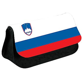 Slovenia Flag Printed Design Pencil Case for Stationary/Cosmetic - 0159 (Black) by i-Tronixs