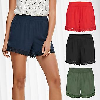 JDY Womens Lace Shorts Summer Shorts Relaxed Loose Fit Trousers Beach Casual
