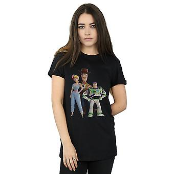 Disney Women's Toy Story 4 Woody Buzz and Bo Peep Boyfriend Fit T-Shirt