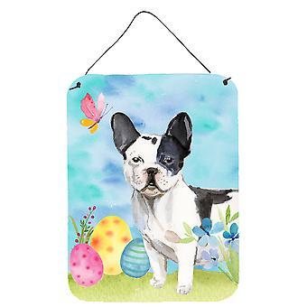Zwart wit Franse Bulldog Pasen muur of deur opknoping prints