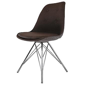 Fusion Living Eiffel Inspiré Brown Fabric Dining Chair with Chrome Metal Legs