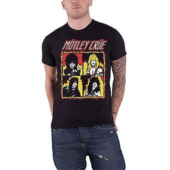 Motley Crue T Shirt Shout at the Devil Flames Vintage Logo Official Mens Black