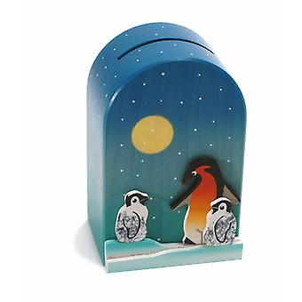 Weizenkorn Piggy Bank 3D Penguin Wood
