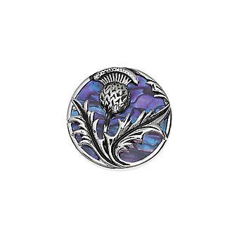Wieczne kolekcji Thistle fioletowy Paua powłoki srebrnej tonacji Broszka