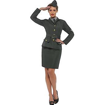 WW2 Army Girl Costume, 1940's Wartime Fancy Dress, UK Size 8-10