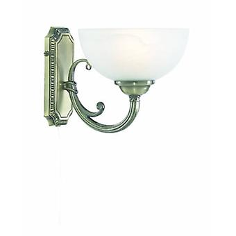 1 Light Wall Light Antique Brass With Marble Glass Shade