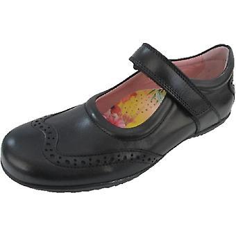 Petasil Girls Expo 3 School Shoes Black E Fitting