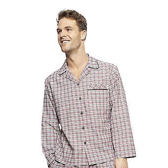 Cyberjammies 6406 Men-apos;s Joseph Burgundy Red Mix Check Cotton Long Sleeve Pyjama Top