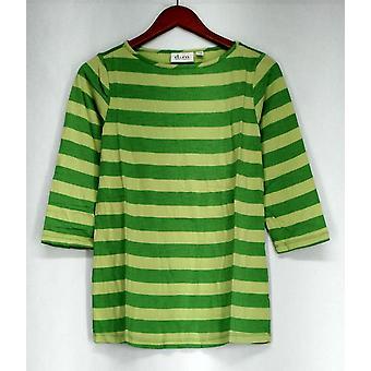 Denim & Co. Top XXS 3/4 Sleeve Scoop Neck Two Tone Striped Knit Green A233439