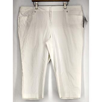 Alfani Plus Pants Tummy Control Cropped White Womens